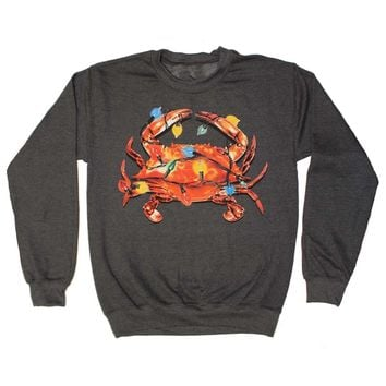 Christmas Lights Crab (Dark Heather) / Crew Sweatshirt