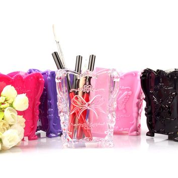 Top selling Acrylic Makeup Cosmetic Storage Box Case Brush Pen Pencils Holder Solid Organizer Black Clear Rose Red