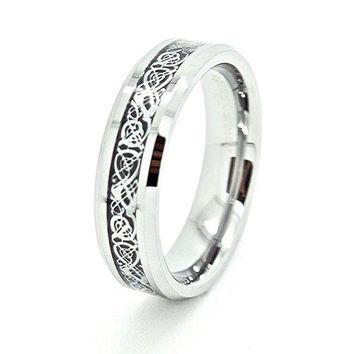Blue Chip Unlimited 6mm Tungsten Carbide with SilverColored Celtic Dragon Inlay Wedding Band