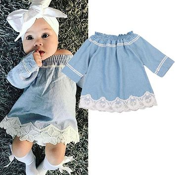 Newborn Baby Girl Lace Off Shoulder Denim Dress Party Princess Hoilday Dresses Cotton Casual A-Line Long Sleeve Mini Dresses