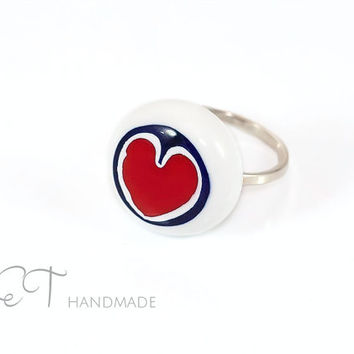 Heart millefiori glass ring-red & white Murano glass murrini and Sterling Silver Handmade italian artisan statement ring-gift for her idea