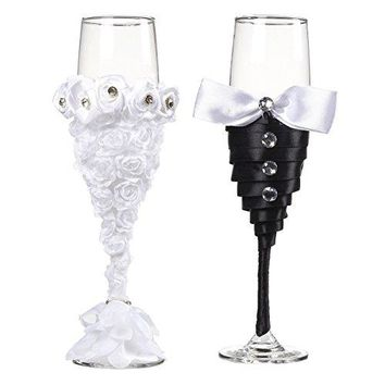 Wedding Champagne Flutes ndash 2Count Champagne Glasses Mr and Mrs Toasting Flute Set Decorative Drinking Glasses for Bride and Groom Black and White 62 Fluid Ounce