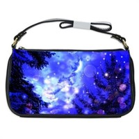 Winter Night Trees Moon And Stars Handbag Shoulder Bag Black Leather