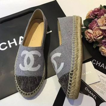 """Chanel"" Trending Ladies Casual Logo All-Match Sequin Weave Canvas Flats Shoes Single Shoes Grey I"