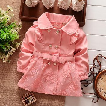 Girls Outerwear Coat NEW Spring Double Breasted Lace Coat Outwear Belt