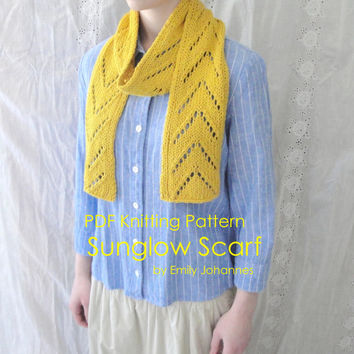 Sunglow Scarf PDF Knitting Pattern, Easy, Chevron Arrow Lace, Cotton & Silk Yarn