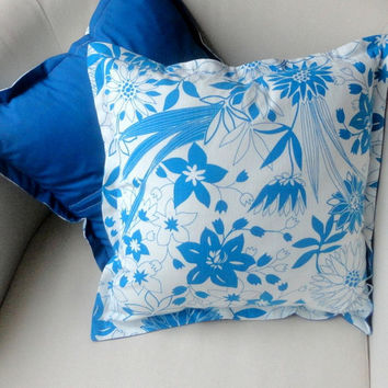 Blue pillow cover blue cushion cover Set of Two - floral pillow floral cushion blue and white  throw pillow retro cushion decorative pillow