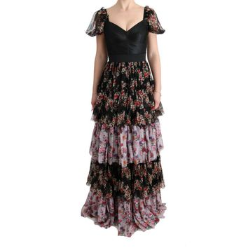 Dolce & Gabbana Multicolor Silk Stretch Floral Shift Long Dress