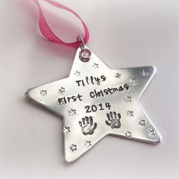 Babys first christmas star personalised tree ornament