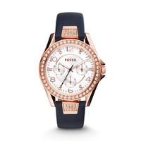 Riley Multifunction Leather Watch – Blue