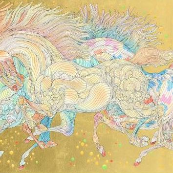 Stardust - Limited Edition Serigraph on Artist Paper Hand Embellished with Gold Leaf by Guillaume Azoulay
