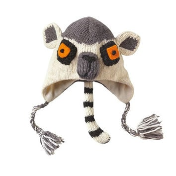 Kid's Lemur Knitted Hat Made from 100% wool with a fleece lining to proved extra warmth