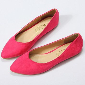 Suede Pure Color Pointed Toe Flat Shoes