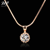 Top Quality Fashion Crown Pendant Necklace for Women Retro Vintage Classic 18K Gold Plated Cubic Zircon Stone Jewelry N390 N391