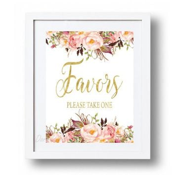 Favors Sign Printable Boho Pink and Gold Favors Wedding decor Watercolor flowers Favors Sign Floral Favor Sign Rustic Favors Please Take One