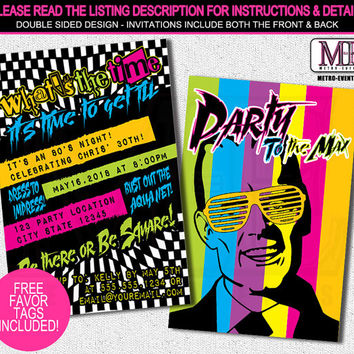 80's Party Invitation, 1980's Invitation, 80's Theme Party Invitation, 80s Birthday Invitation, Adult birthday invitation, Party invitations