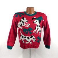 Ugly Christmas Sweater Vintage 1980s Dogs Tacky Holiday Women's size P M