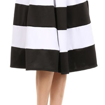 Stripe vintage pleated below knee skater skirt