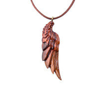 Angel Wing Necklace, Men's Wing Necklace, Angel Wing Pendant, Wing Pendant, Wood Wing Pendant, Hand Carved Pendant, Angel Wing Jewelry
