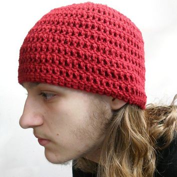 Crochet Simple Man Beanie Hat in Dark Red Medium