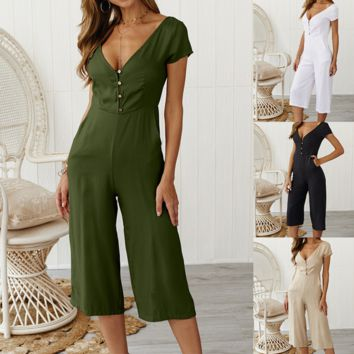 Casual button short sleeve jumpsuit trousers women's clothing