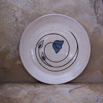 Rutile Blue Poppy on White Handmade Stoneware Ceramic Pottery Serving Platter Plate
