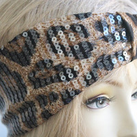 Very Cute Headband leopard print   with sequins  great accessory for your outfit