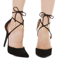 Pointed Toe Criss Cross Ankle Tie Strap Black Pumps
