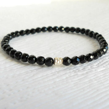 Faceted Black Onyx Beaded Bracelet with Karen Hill Tribe Silver, Dainty Stacking Bracelet, Holiday Sparkle, Gifts Under 25, sophisticated