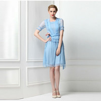 Veronica Pastel Blue Silk Cocktail Dress