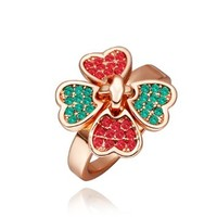 18K Rose Gold Plated Red and Green Swarovski Elements Crystal Four Leaf Colover Ring, Size 8