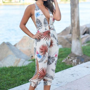 Ivory Tropical Palm Jumpsuit with Open Back