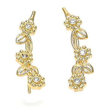 Gold Layered 02.156.0183 Leverback Earring, Flower and Leaf Design, with White Cubic Zirconia, Polished Finish, Gold Tone