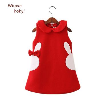 Winter Girls Dresses Rabbit Bow Princess Dresses For Girls Easter Carnaval Infant Vestidos Warm Thicker Party Children Clothing