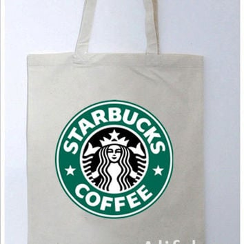 STARBUCKS Coffee Logo Printed Canvas Cotton Women Shopping Tote Bag - A