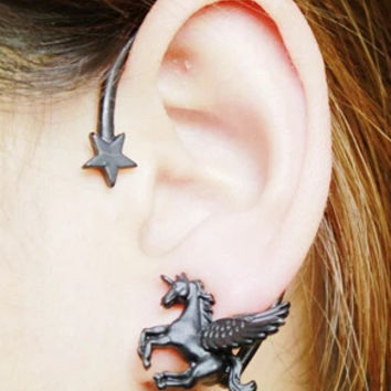 2015 New 1 pcs Fashion Punk Rock Stereoscopic Running Horse Unicorn Star Lady Stud Earring for left ear Gold
