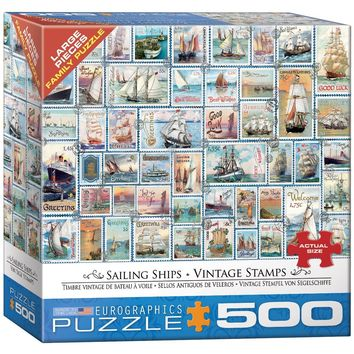 Vintage Stamps - Sailing Ships - 500 Piece Jigsaw Puzzle