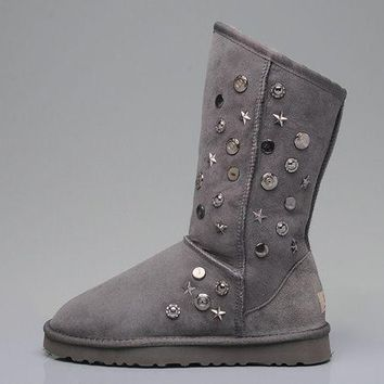 ESBON UGG 5838 Tall Ornaments Suede Women Fashion Casual Wool Winter Snow Boots Grey