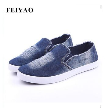 New 2017 Summer Men Shoes Breathable Slip-on Cut-out Denim Casual Canvas Shoes Flat H