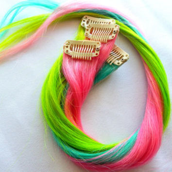 NEON BLACKLIGHT Electric Pink, Green, & Teal Single Clip Hair Extensions 18 in. Set of 6 | Summer, Music Festivals, Black Light, Tie Dye