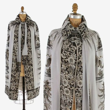Reserved...20s Hand PAINTED Floral Scenic SILK CAPE / Vintage 1920s Dove Gray Metallic Gold Painted Asian Scenes Cloak