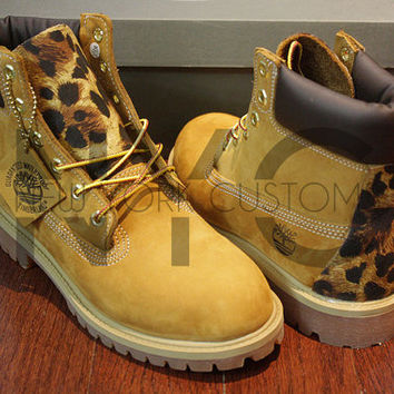 "Leopard Timberland 6"" Premium Custom Youth Boys & Girls (GRADE SCHOOL)"
