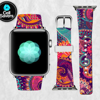 Purple Paisley Pattern Floral Teal Yellow Pink Flowery Apple Watch Band Leather Strap iWatch for 42mm and 38mm Size Metal Clasp Watch Print