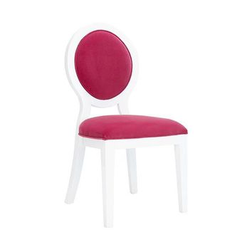 Overton Oval Back Dining Chair in White Lacquer | Pink Velvet