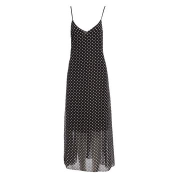 Fashionable V-neck Suspender Polka Dot Print Lined Ball Gown with Pocket Maxi Dress for Women