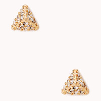 Fancy Rhinestoned Pyramid Studs