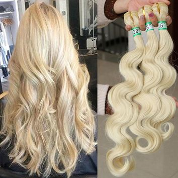 Body Wave Weave Hair Weft Synthetic Hair Extension Blonde Hair Pieces 1Bundle70g