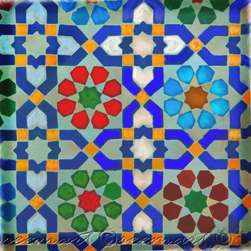Morocon Tiles,Home Decor, Wall Art,Arabeqsue,Middle Eastern, Ethnic,Large,Square,Ikea