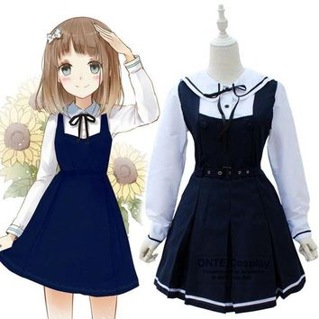 LMFON Japanese Fashion Sailor Suit Cosplay Costumes School Uniform Women Party Fancy Maid Dress