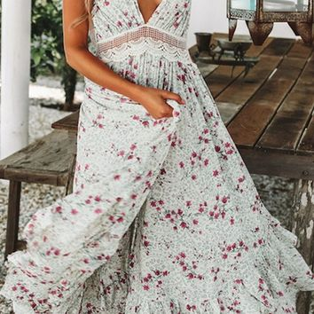 I Know What You Did White Floral Pattern Sleeveless Spaghetti Strap Halter V Neck Backless Lace Trim Ruffle Casual Maxi Dress